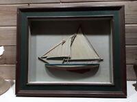 Vintage shadow box framed Wood Sailboat Pond Boat Sailing Yacht Nautical decor