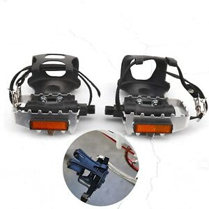Pair Black Bicycle Exercise Pedals with Clips and Straps Toe Clips Cages Pedals