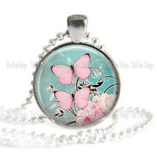 Butterflies Glass Top Pendant Add to Your Chain Key Chain or Charm Bracelet 02
