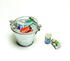 Dollhouse Miniature Bucket Pail Ice cubes & 5 Soda Cans set Bar Drink Decor 1:12