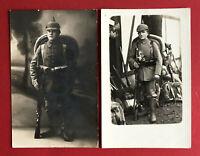 2 x Militär Foto AK 1. WK feldgraue Infanterie Soldaten vor dem Ausmarsch( 63587