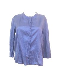 Eileen Fisher Crinkle Silk Blouse Blue Purple Peasant Button Petite Small P (A6)