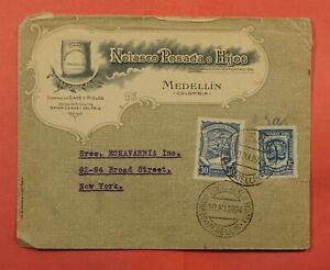 1924 COLOMBIA SCADTA AIRMAIL ADVERTISING MEDELLIN TO USA