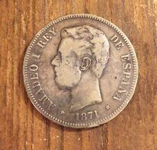 ESPAÑA AMADEO I 1871 DEM 5 PESETAS MONEDA PLATA MBC+