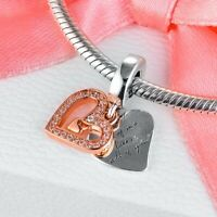 2020 Valentines New Sterling Silver Sparkling Freehand Heart Dangle Charm