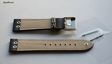 22MM Black Pilot with 3 SOLID Stainless buttons Genuine Leather watch band strap