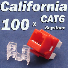 100 Pcs lot Keystone Jack CAT6 Red Network Ethernet 110 Punch Down 8P8C RJ45