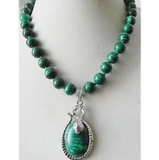 New 10mm Green Malachite Gemstone Pendant Necklace 18''