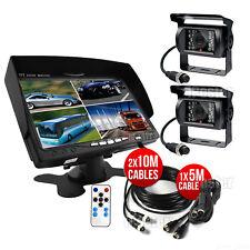 """7"""" Split Quad Car Reversing Monitor 2x Truck CCD Backup Camera 4Pin 10M+15M Kit"""