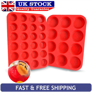 Silicone Muffin Tray 12/24 Deep Large Baking Mould Non-stick Cup Cake Bakeware