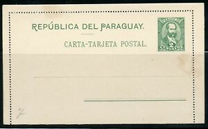 PARAGUAY 2 CENTAVOS MINT POSTAL STATIONERY LETTER CARD AS SHOWN