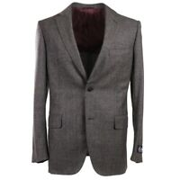 NWT $3495 BELVEST Gray-Burgundy Check Soft Woven Wool Suit 38 R (Eu 48)
