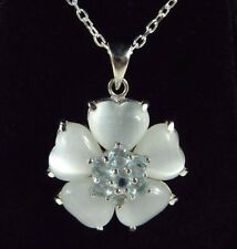 Created Mother Of Pearl & Cubic Zirconia Sterling Silver Flower Pendant & Chain