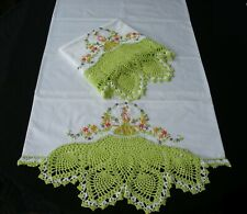 Hand Embroidery Crochet Lace PillowCases (2) Southern Belle Cotton Sateen New 5#