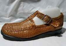 FRANCE MODE Mary Jane T Strap Buckle Shoe Wmns 8.5 M UK 6.5 Loafer Brown Leather