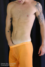Men's Mesh See-Through Lounge Sleep Pants SEXY Gay HOT Shorts Summer Orange