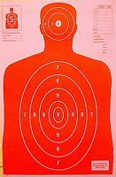 Paper Shooting Targets Orange Silhouette Gun Pistol Rifle B-27 Qty:100 23x35