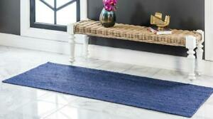 6x9 feet square indien braided rug pure dark blue color doormat home decor rug