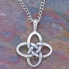 925 sterling silver CELTIC KNOT Irish Quatrefoil Pendant Necklace LOVE on back