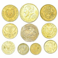 10 CYPRUS COINS 1-50 CENTS CYPRIOT COINS COLLECTION 1963-2007. COLLECTIBLE COINS