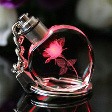 UK Fairy Crystal Rose LED Light Keychain Heart Key Chain Ring Keyring Xmas Gift