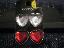 red silver tone by George approx 1in 2x Pairs of fantastic heart shaped earrings