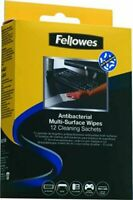 6 Packs - Total 72 Fellowes Antibacteri Multi Surface Wipes Sachets RRP £40