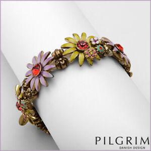 PILGRIM Skanderborg Danish Design Swarovski Crystal Enamel Flower Bracelet • NEW