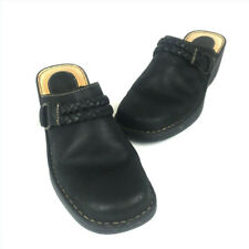 Born -Size 9M- Women's Black Leather Clogs Mules Slip On with Roped Buckle