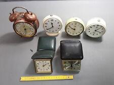 6 antique alarm clocks to pushed up mechanical jaz trip japy etc french