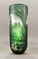 9973867-dss Glas Cameo Vase Tannen-Wald Green 9x22x26cm New