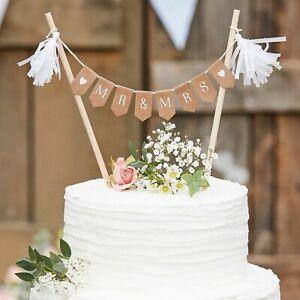Mr & Mrs Wedding Cake Bunting, Rustic Kraft Wedding Cake Topper / Decoration