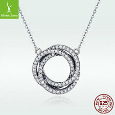 European Real 925 Sterling Silver Necklace With Halo Pendant Fashion CZ Jewelry