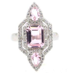 SheCrown Fantastic Pink Kunzite White CZ Daily Wear Silver Ring 5.5