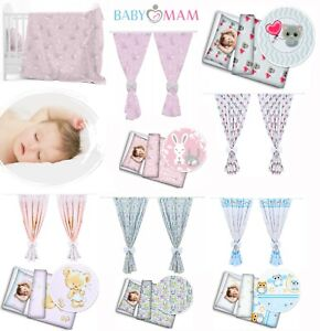 NURSERY 2PC BEDDING SET FOR COT WITH MATCHING DECORATIVE CURTAINS FOR BABY ROOM