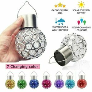 Solar Powered Lights Crystal Retro Bulb Garden Outdoor Colorful Hanging Lights
