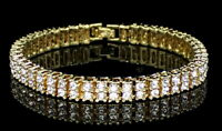 Mens Womens 2 Row Simulated Diamond Tennis Bracelet 14k Gold Plated 8 inch