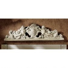 "37"" European Manor Wall Pediment Sculpted Devonshire Cupids Wall over Door Decor"