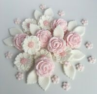 Baby Pink & White Roses Wedding Flowers Cake Decorations Edible Cake Toppers