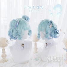 Azul Verde Degradado Muñeca Peluca Lolita Harajuku Rizado Dulce Kawaii diaria de pelo corto
