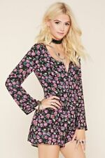 NWT FOREVER 21 Floral Zipper Lace Up Back Bell Sleeve Corset Romper Jumpsuit S