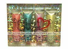SIMPLY SWEET 4pc Lip Gloss Set RHINESTONE+GLITTER CAPS Flavored Shimmer SQUEEZY