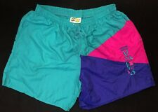Vintage 80s Umbro Sand Soccer Federation Shorts Teal Neon Pink Purple Usa L Xl