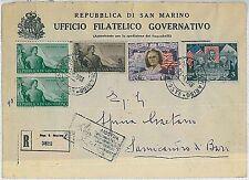 SAN MARINO: STORIA POSTALE - busta raccomandata in TARIFFA 30 lire 1948 - BELLA!
