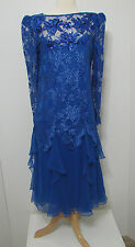 Vintage Pat Richards ILGWU Blue 2 Pc Ruffled Tiered Asy Scallop Lace Seq Dress 6