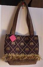 SB Olive Green & Tan Palm Trees Handmade Handbag NWT