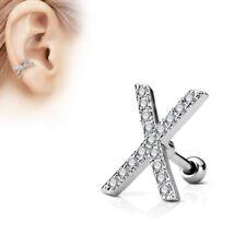 Paved X rhinestones Piercing ear cartilage