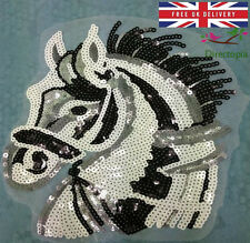 Large Sew On Sequins Applique Horse Pony Patch Sparkly Customise Craft Clothing