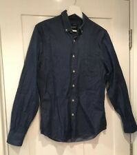 Mens TOPMAN 100% cotton Mid Blue Denim shirt regular fit Size Small Casual VGC
