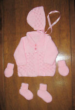 baby pink matinee set new 0 to 3 months hand knitted coat hat booties mitts